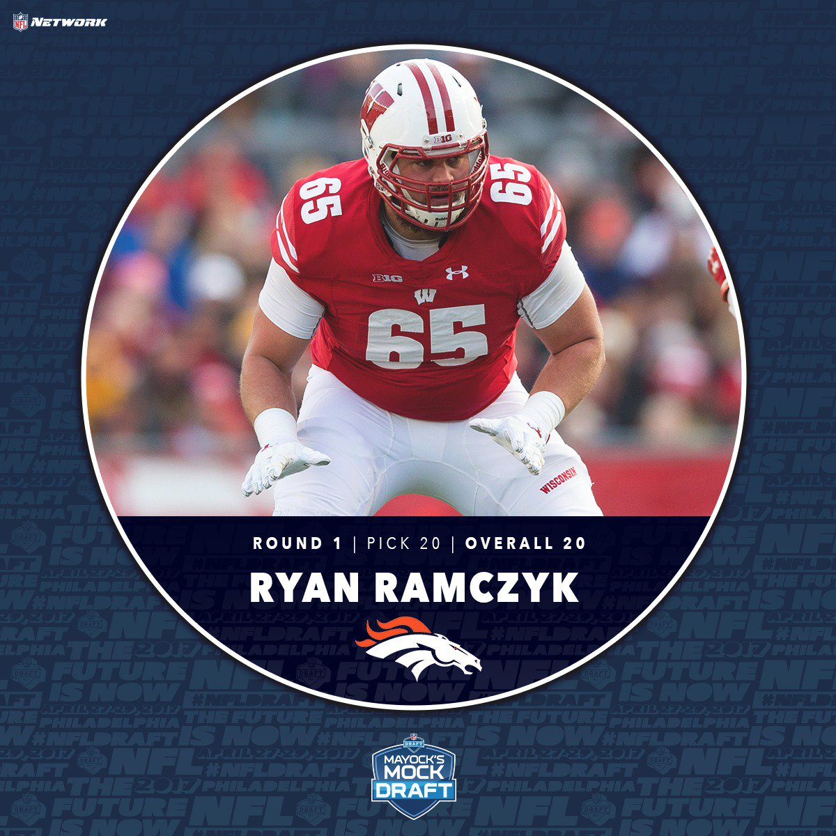.@Broncos with a T from Wisconsin, Ryan Ramczyk  #MayockMock https://t...