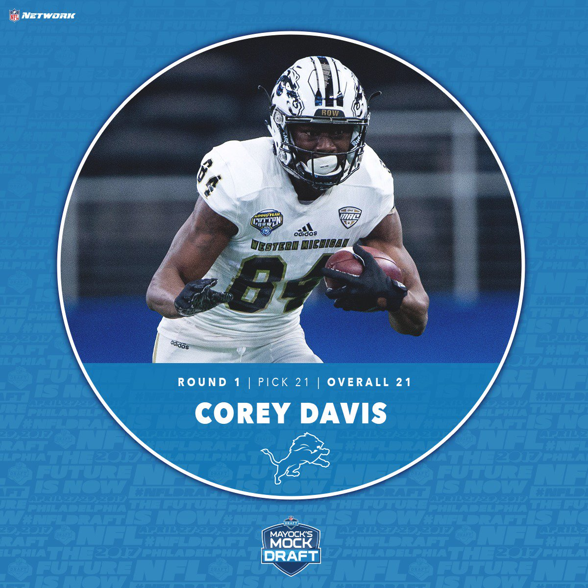 Western Michigan ➡️ @Lions   Corey Davis is the 3rd WR off the board #...