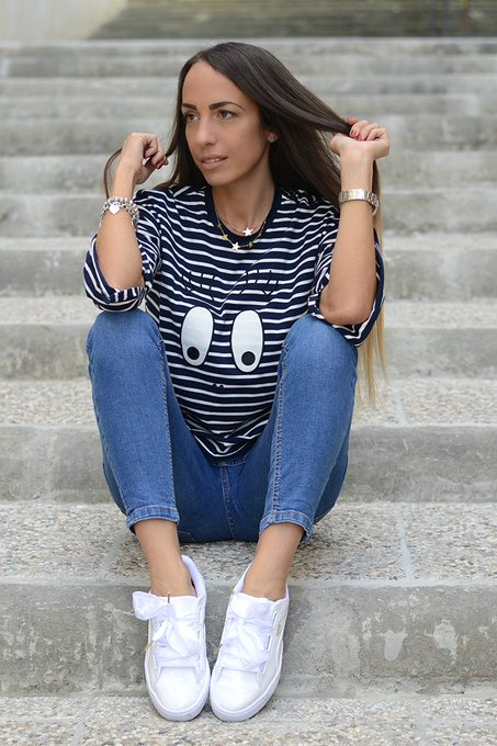 Blue Cartoon Pattern Split Cuffs Striped T-shirt
