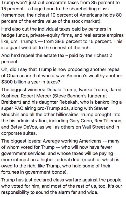 Trump's tax plan is the biggest declaration of class warfare -- Trump's and Mnuchin's class against average Americans -- in history.