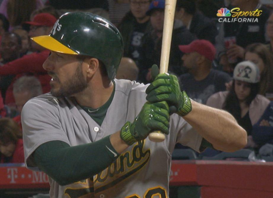 Big fan of @sweetswingin20's batting gloves. #Athletics https://t.co/f...