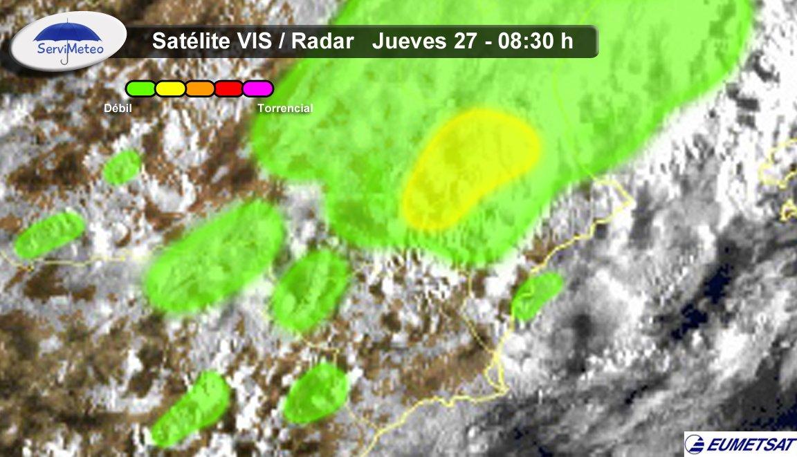 La inestabilidad va ganando terreno. Llueve en las provincias de Albacete, Valencia y Murcia. #Primavera