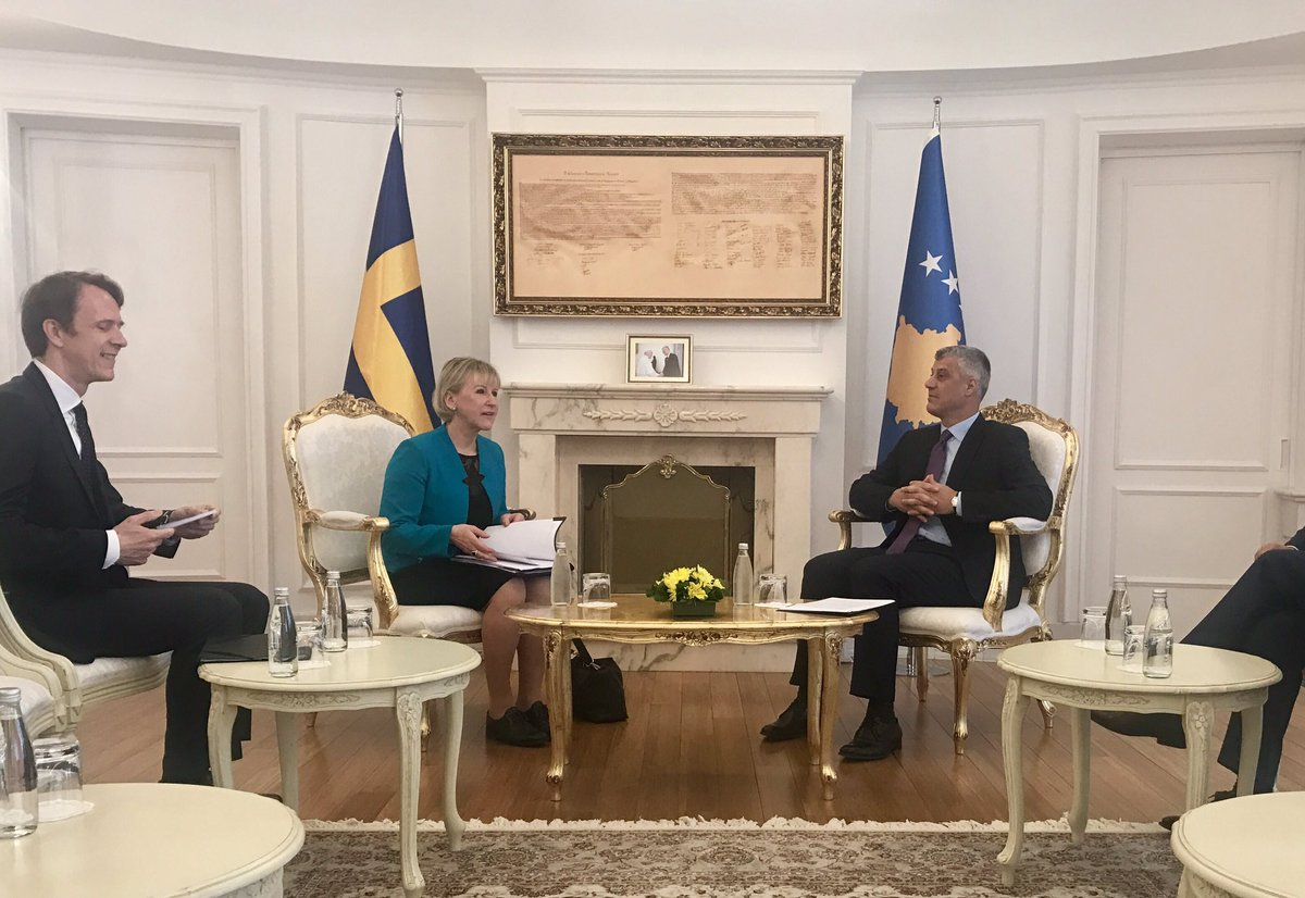 Meeting Pres. Thaci, FM Hoxhaj & PM Mustafa. Discussions on EU, regional issues, reforms etc. Sweden is a long term friend of Kosovo.