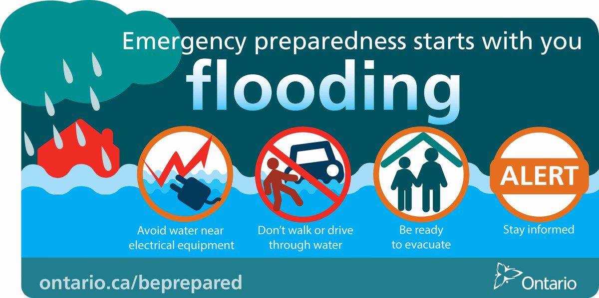 As the wet weather continues, be prepared and stay informed as flooding can occur. #ONready https://t.co/fPAmugiIlU