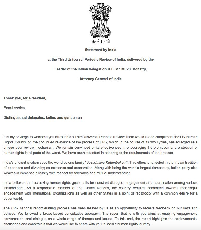 Statement by India at #UPR27 #UPR3India  + Read Full Text  https://t.co/i1YbLo29Z6 https://t.co/dZnQTgqA43