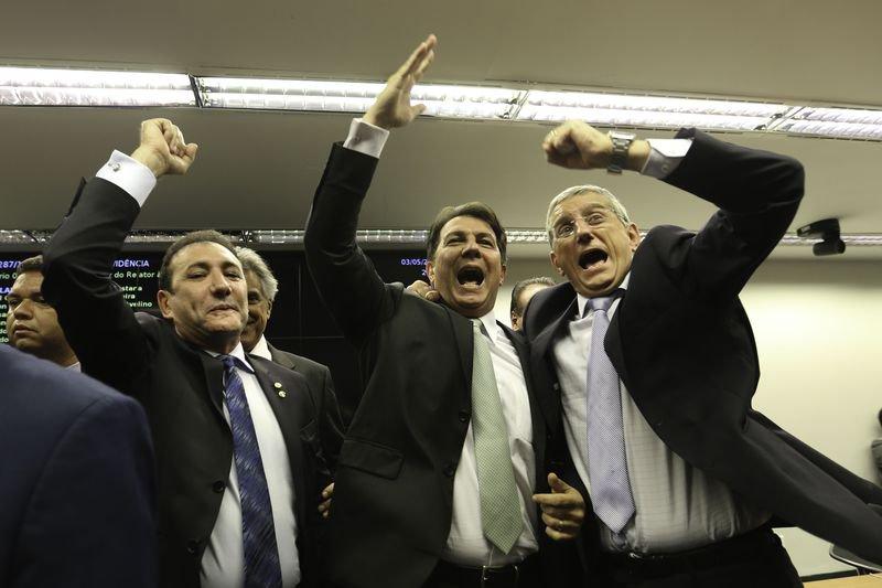 deputados comemoram aprovação da reforma da previdência na comissão. ELES têm razão para comemorar (foto: fabio pozzebom/agência brasil)