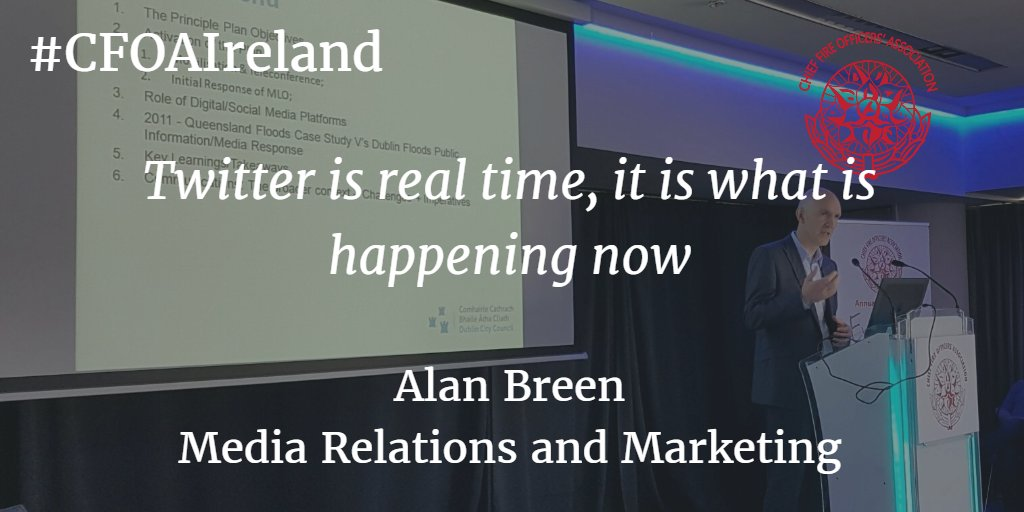 Create a hashtag to funnel all of the important information about the emergency. Alan Breen. #CFOAIreland