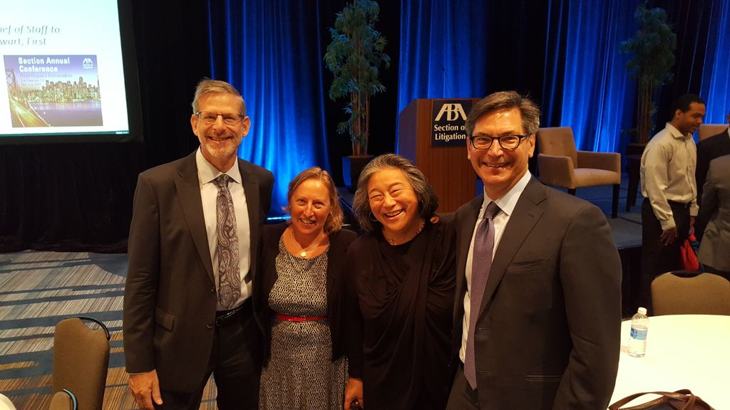 .@GT_Law's Ruth Bahe-Jachna with @TinaTchen, Steve Weiss, & @LPulgram at #LitigationSAC - we're proud to be here as sponsors! @ABALitigation https://t.co/kU8J9ahftW