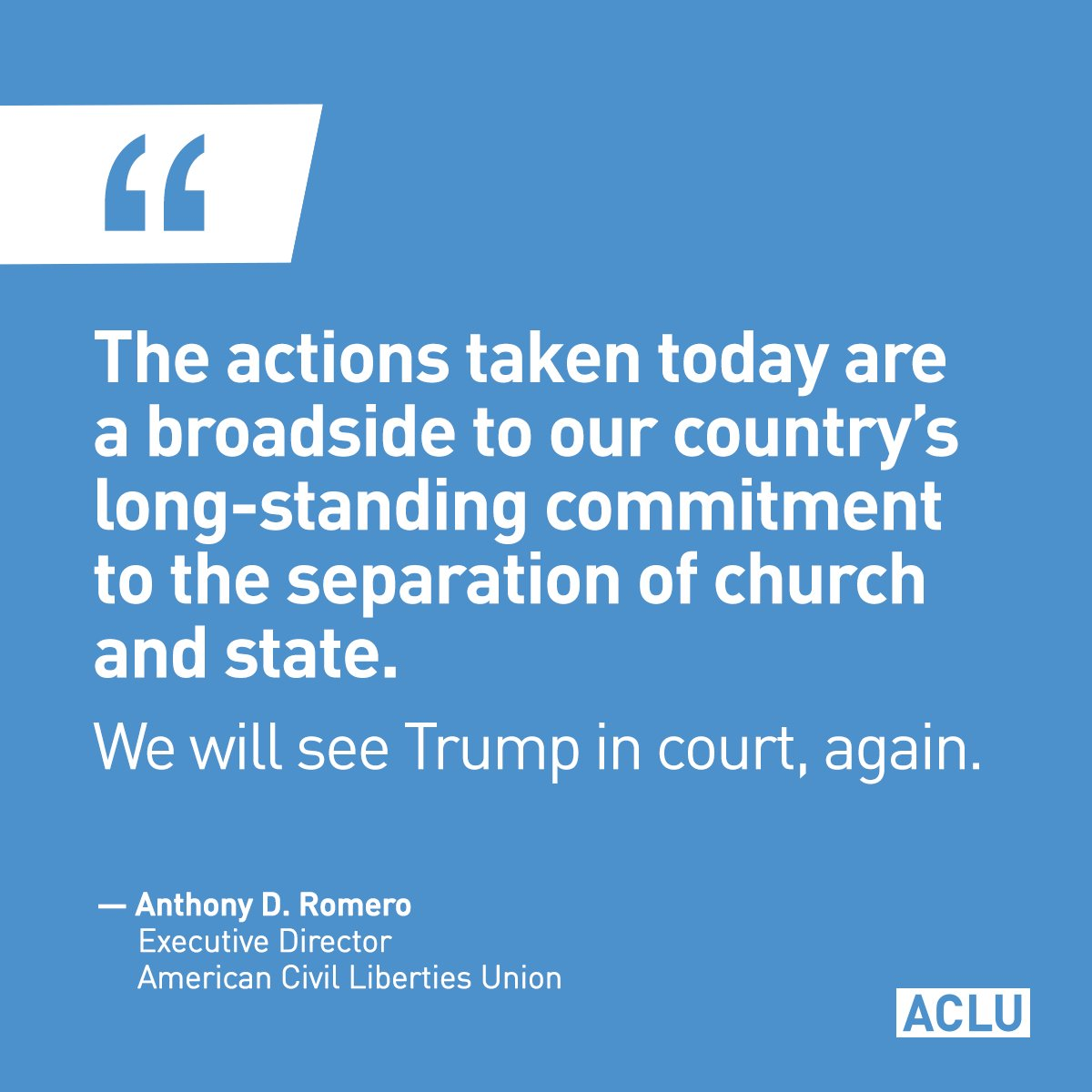 Our freedom of religion is not a #LicenseToDiscriminate.   @POTUS, we will see you in court, again.
