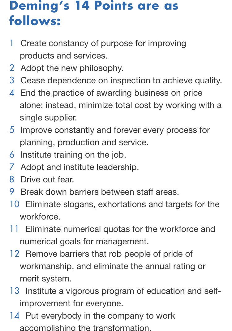 Deming's 14 Points as mentioned by @donberwick #Quality2017 https://t.co/gl1bI4gatG