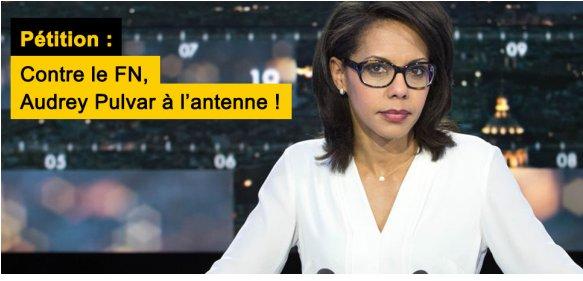 Contre le #FN, @AudreyPulvar à l'antenne ! SOS Racisme lance une pétition en soutien de la journaliste #AvecPulvar https://t.co/1p07u8kJJk https://t.co/zQ5TRyh4wH