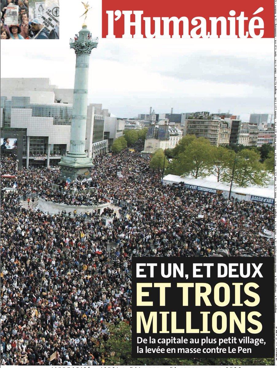 Aprés le choc du #21Avril #2002 un des plus beaux premier Mai de l'histoire de France. En #2017 soyons à la hauteur de nos responsabilités. pic.twitter.com/TJ6lVJGrdL