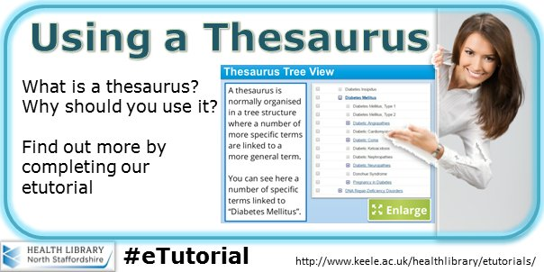 Learn how to use a database thesaurus to help you to find information quickly #etutorial #literaturesearch  http:// ow.ly/iM2D30ak325  &nbsp;  <br>http://pic.twitter.com/Z0kCHyALdd