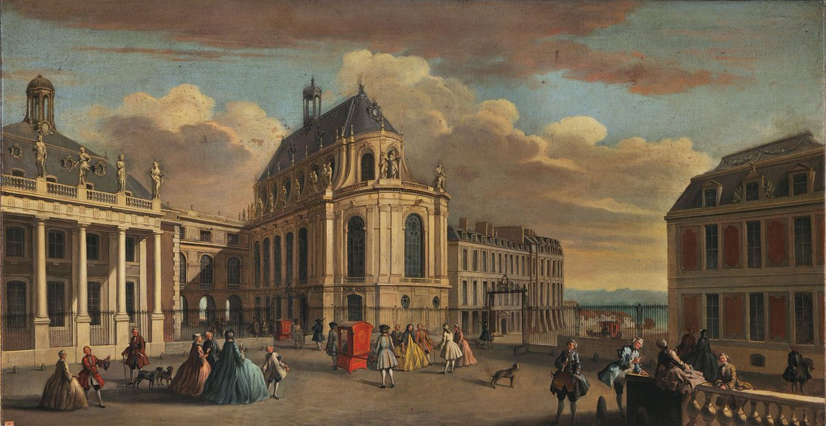 View of Versailles on the Courtyard of the Chapel in the Early 18th Ce...