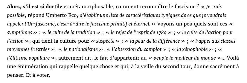 Comment reconnaître le fascisme ? La précieuse leçon d'Umberto Eco. https://t.co/HbEwPgmZDN
