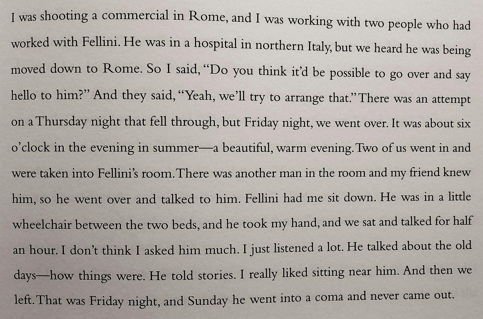 RT @mccrabb_will: David Lynch on meeting Fellini https://t.co/LpEnwELt2h