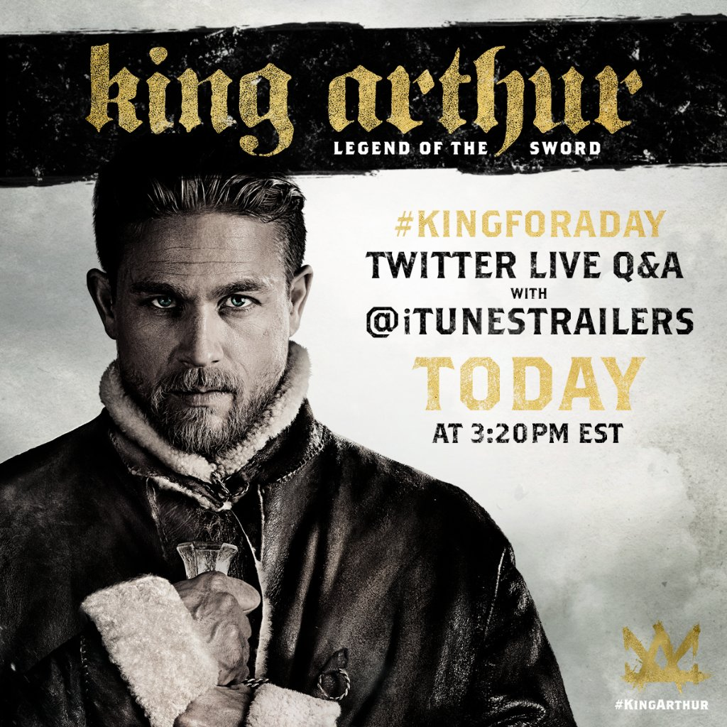 Tune in around 3:20PM EST. We\'re hosting a Twitter Live Q&A with Charlie Hunnam, @DjimonHounsou & @RealGuyRitchie!