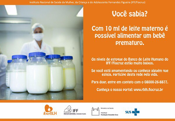 #DoeLeiteMaterno O banco de leite humano do IFF/Fiocruz precisa de doações urgentes. A ligação é gratuita! Informe-se.
