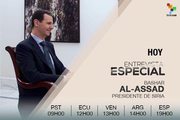 "teleSUR TV on Twitter: ""#AlAssadEnteleSUR | Bashar al-Assad ofrece entrevista exclusiva para teleSUR ¡No te la pierdas! https://t.co/BmXohKokng"""
