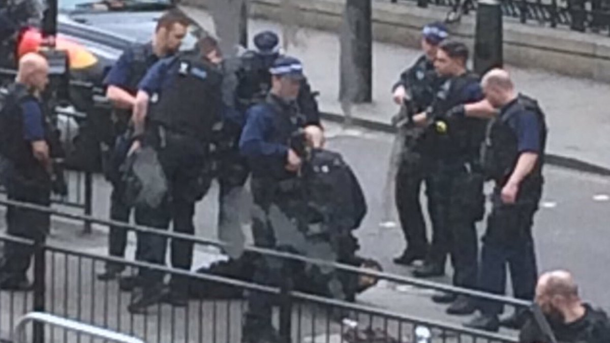 Image of man being arrested by police in Westminster. Source: @3213dev...