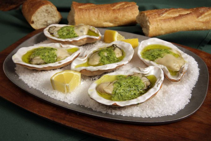 Green garlic butter with parsley brings spring to oysters
