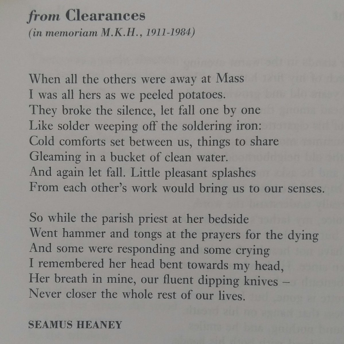 seamus heaney when all the others were away at mass