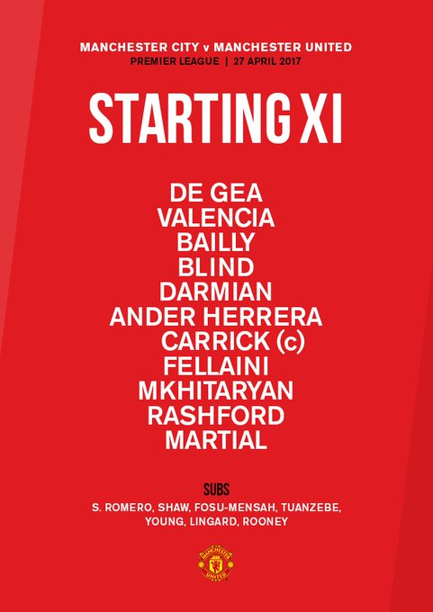 Here is tonight's #MUFC starting XI... #MCIMUN 🔴
