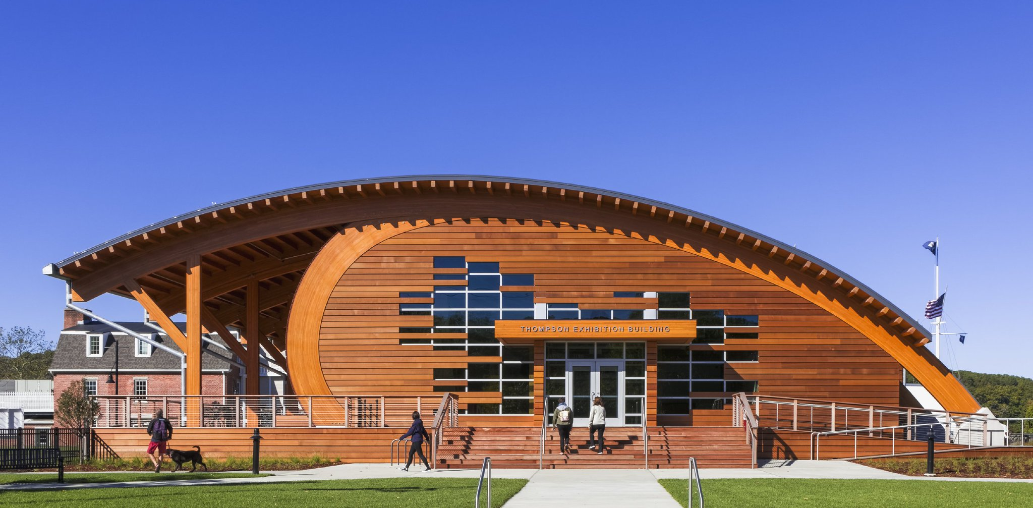 A4: Our latest design was @MysticSeaport; 22.5 miles of Glulam, 22,000 linear ft of cedar siding, 26,250 ft of mahogany decking #A17WoodChat https://t.co/byoiaGOB8z