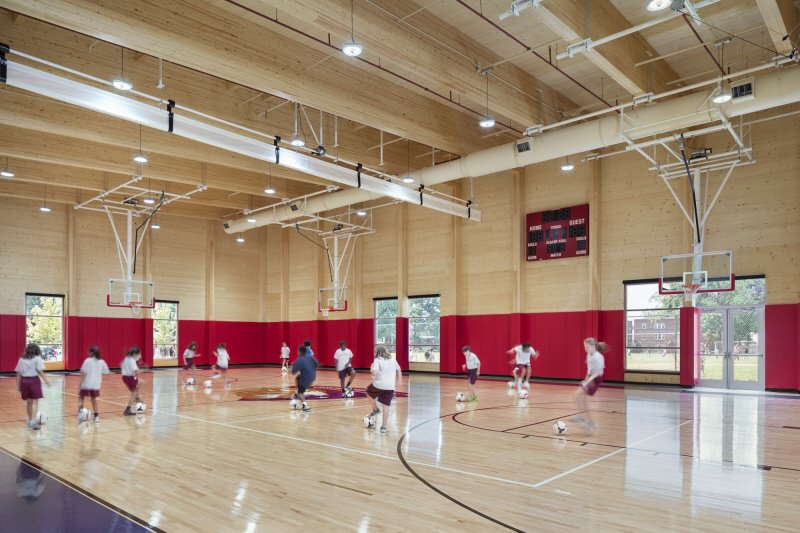A4: We used CLT for the new gymnasium @WashingtonLatin : structure, sheathing, and finish in one! #A17WoodChat https://t.co/P3OiZ3H805