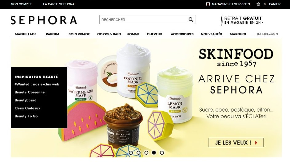 Food is beauty #trends Here comes the brand #Skinfood advertised on #Sephora France homepage. <br>http://pic.twitter.com/2e1yALyafg