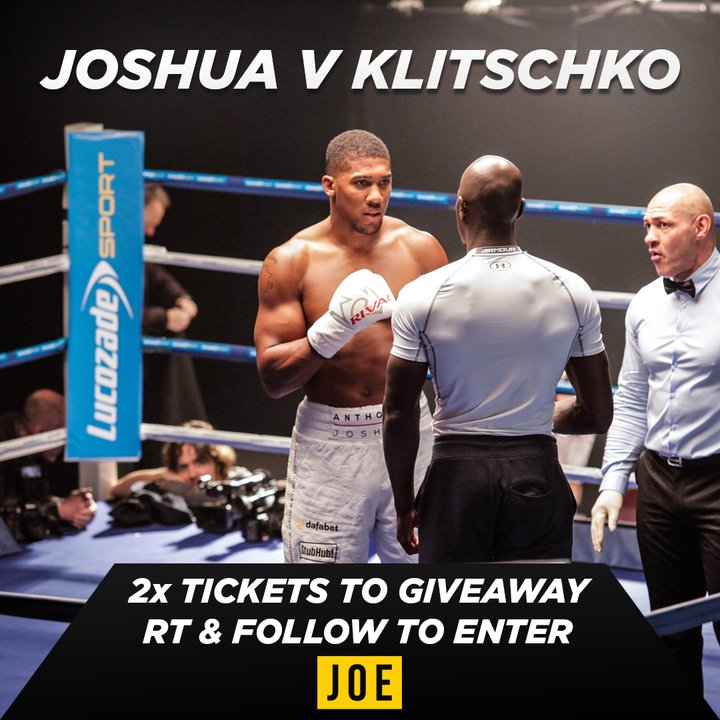 We are GIVING AWAY 2x #JoshuaKlitschko tickets thanks to @LucozadeSpor...