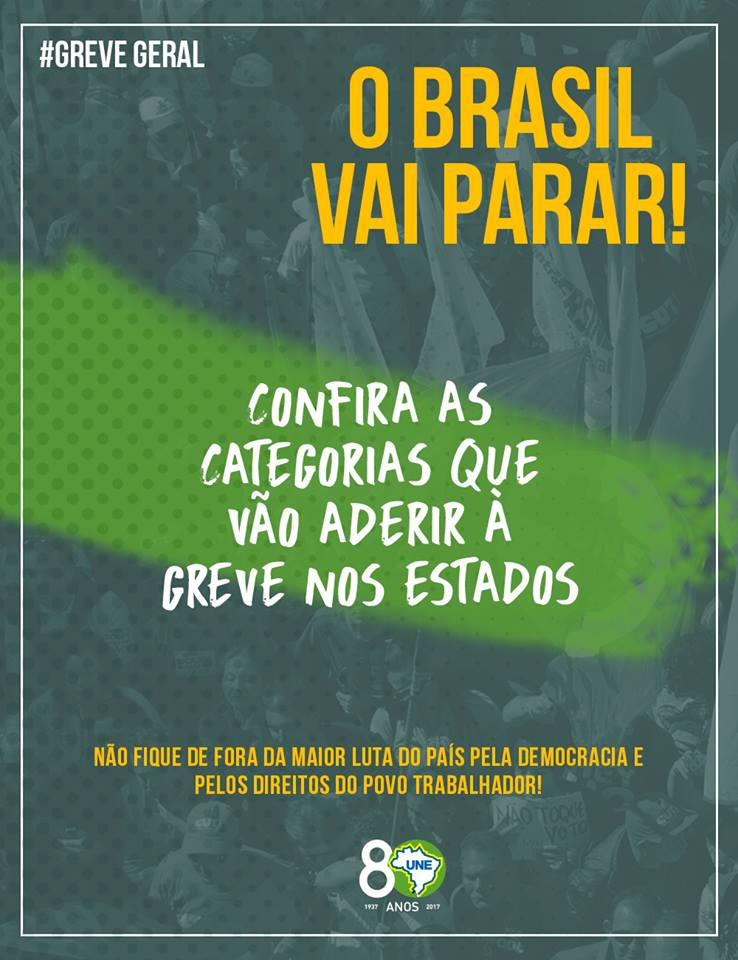Confira as categorias que vão aderir à greve nos estados: https://t.co/w3PqgQEQ7v #EuApoioAGreveGeral #GreveSIM 👌