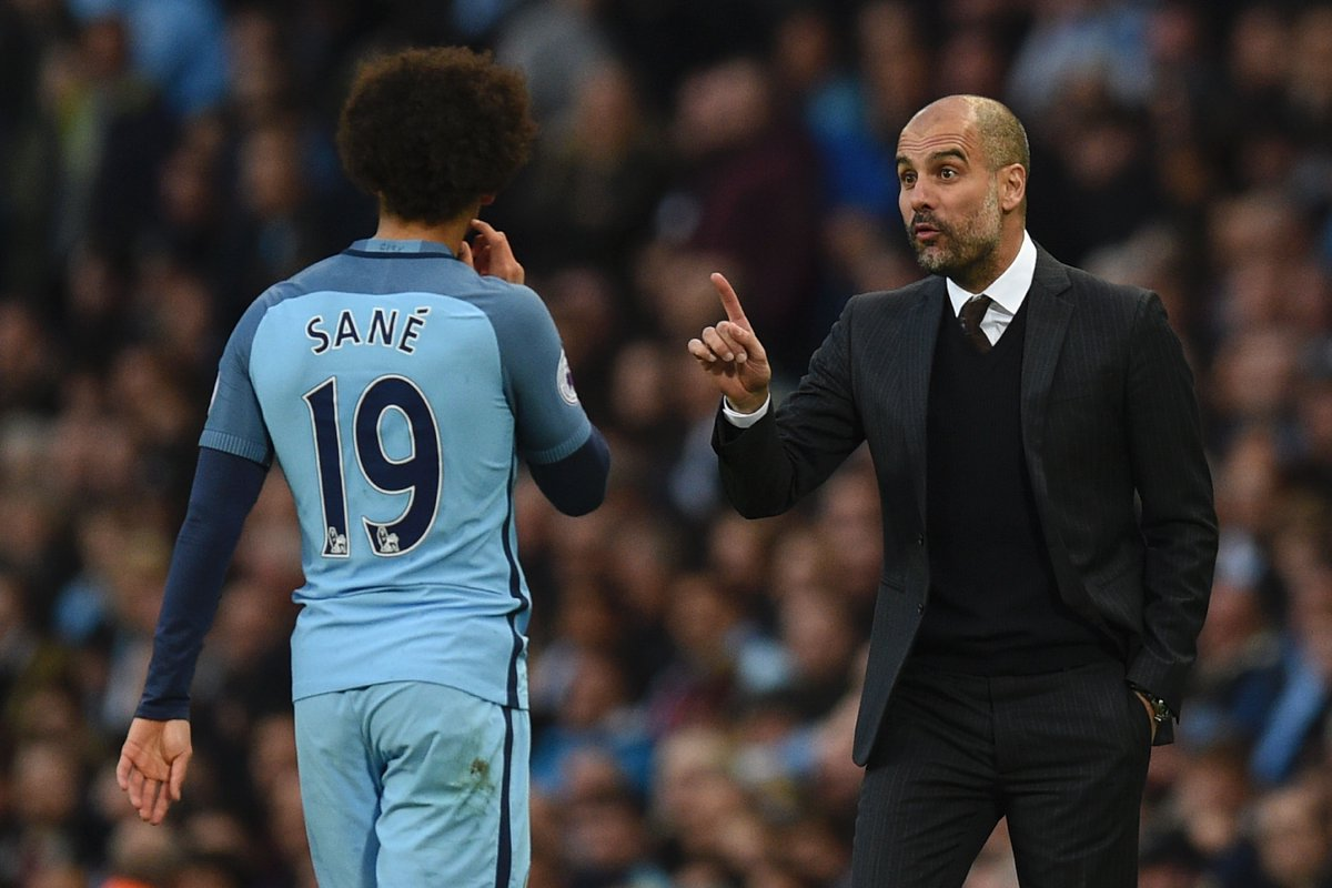 Image result for Pep Guardiola with Leroy Sane