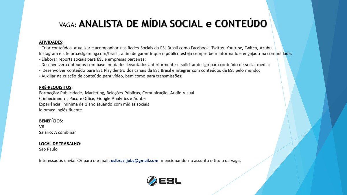 Ei você que esta ai quer trabalhar aqui na @eslbrasil ? Temos vaga de Analista de mídia social :-) https://t.co/mdMWzaCVUu