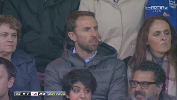 England manager Gareth Southgate watching Rugby over the Manchester Derby tonight.  Just wow.