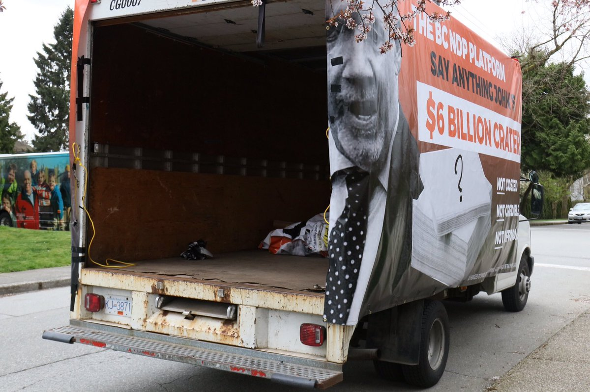The BC liberal Troll Truck, with a platform as empty and decrepit as t...