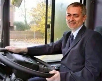 Jose Mourinho spotted parking a double decker bus on the pitch.   Unac...