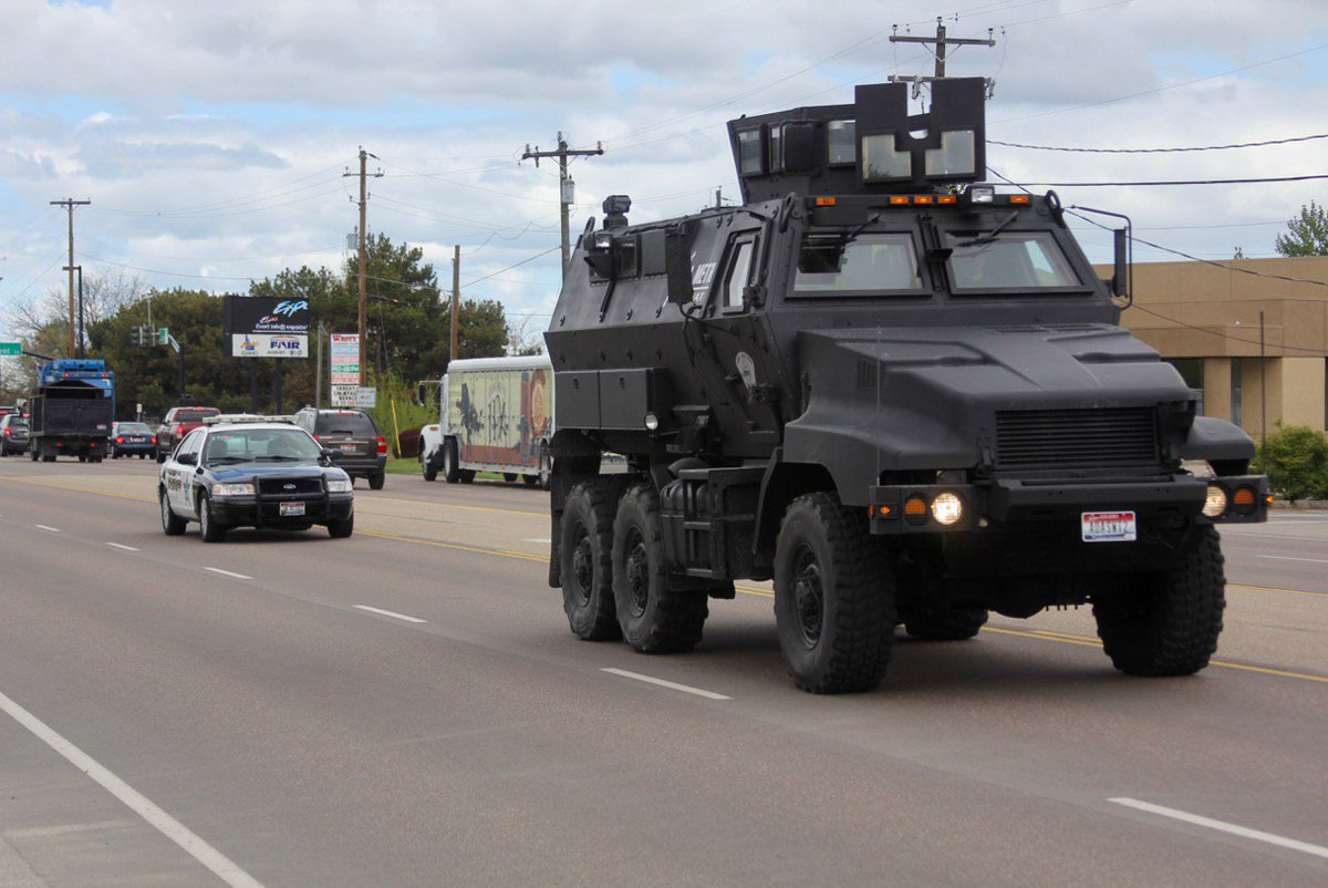 "Ada County Sheriff on Twitter: ""The Ada Metro SWAT team is doing driving training for their armored vehicles on Chinden Blvd. today."