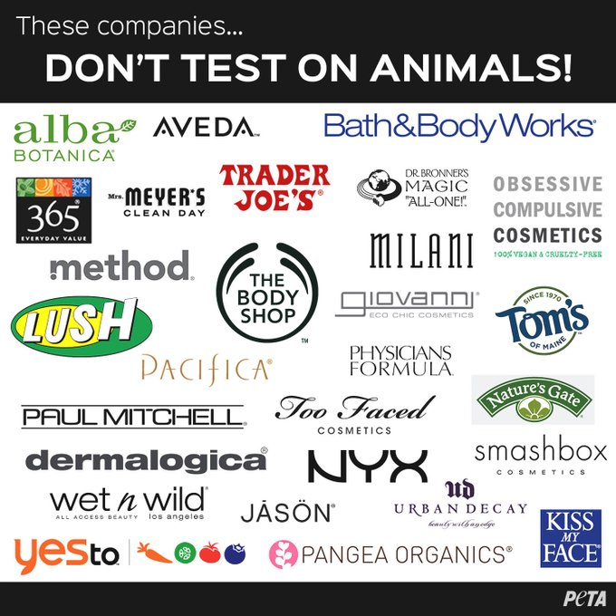 RT @peta: These companies DON'T test on animals. #CrueltyFree #WW4AIL https://t.co/VdChV25k2x