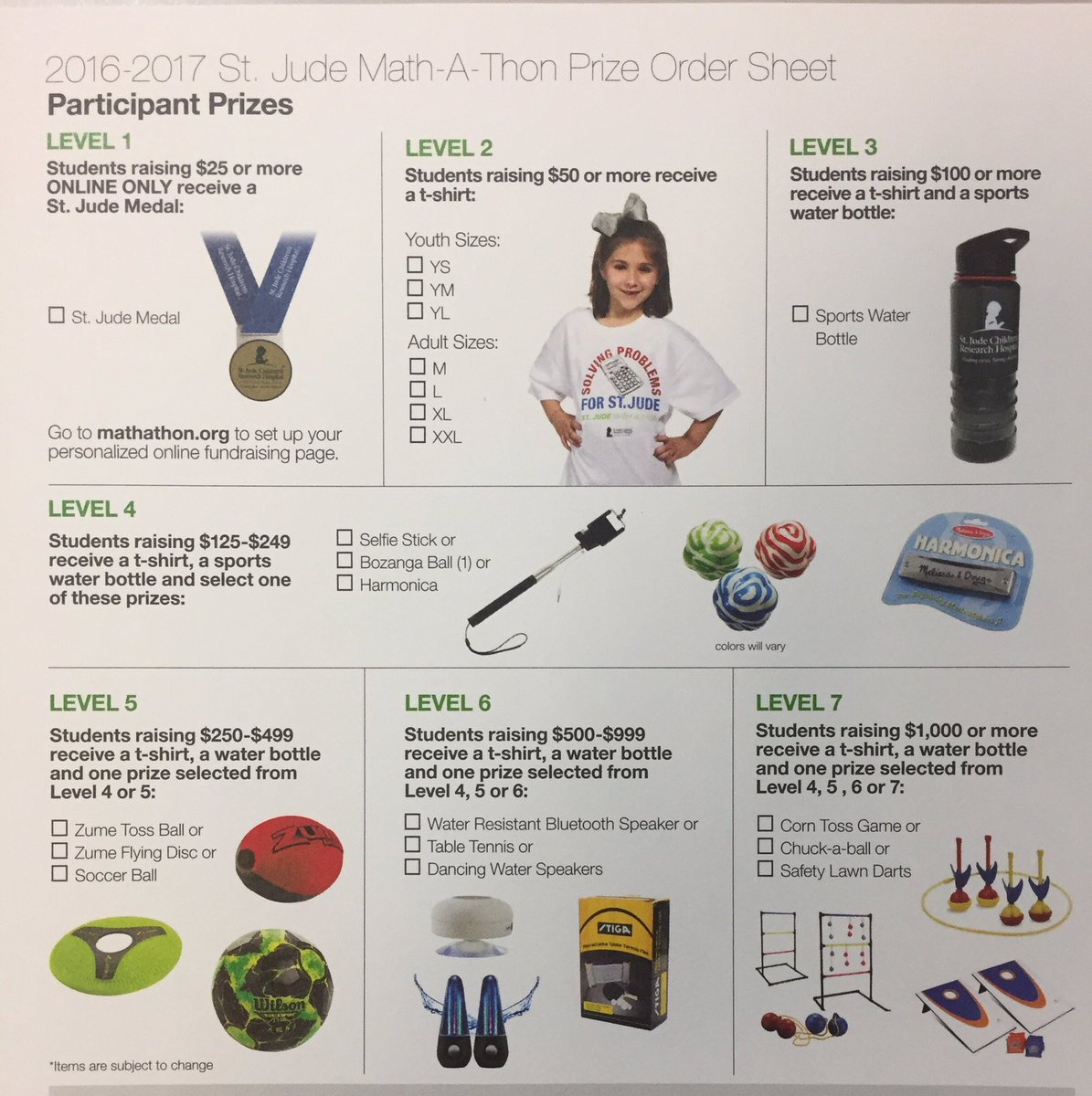 St judes mathathon prizes for students