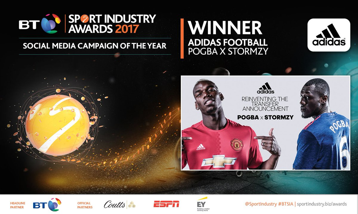 WINNER: Social Media Campaign of the Year  @adidasfootball for Pogba X Stormzy https://t.co/7zaCyKS427