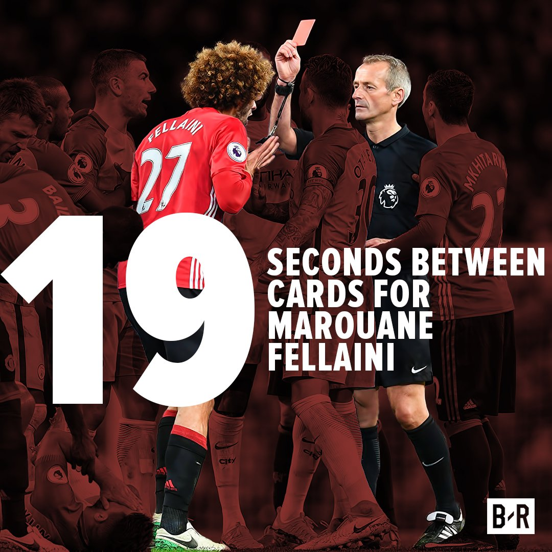 It didn't take long for Marouane Fellaini to lose his head. ⏱️ https:/...