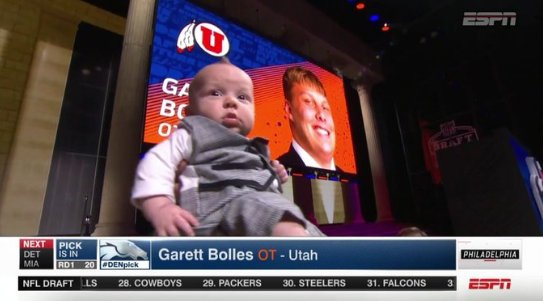 Newest Bronco Garett Bolles brought his baby to the draft stage in a s...