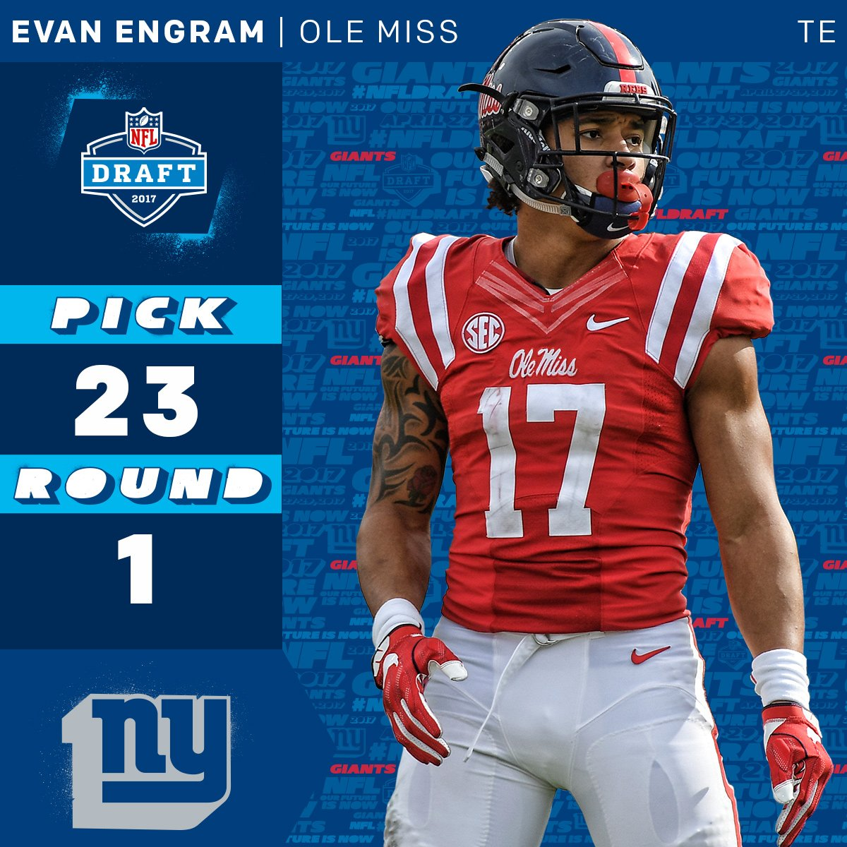 The @Giants select @OleMissFB TE @EvanEngram with the 23rd overall pic...
