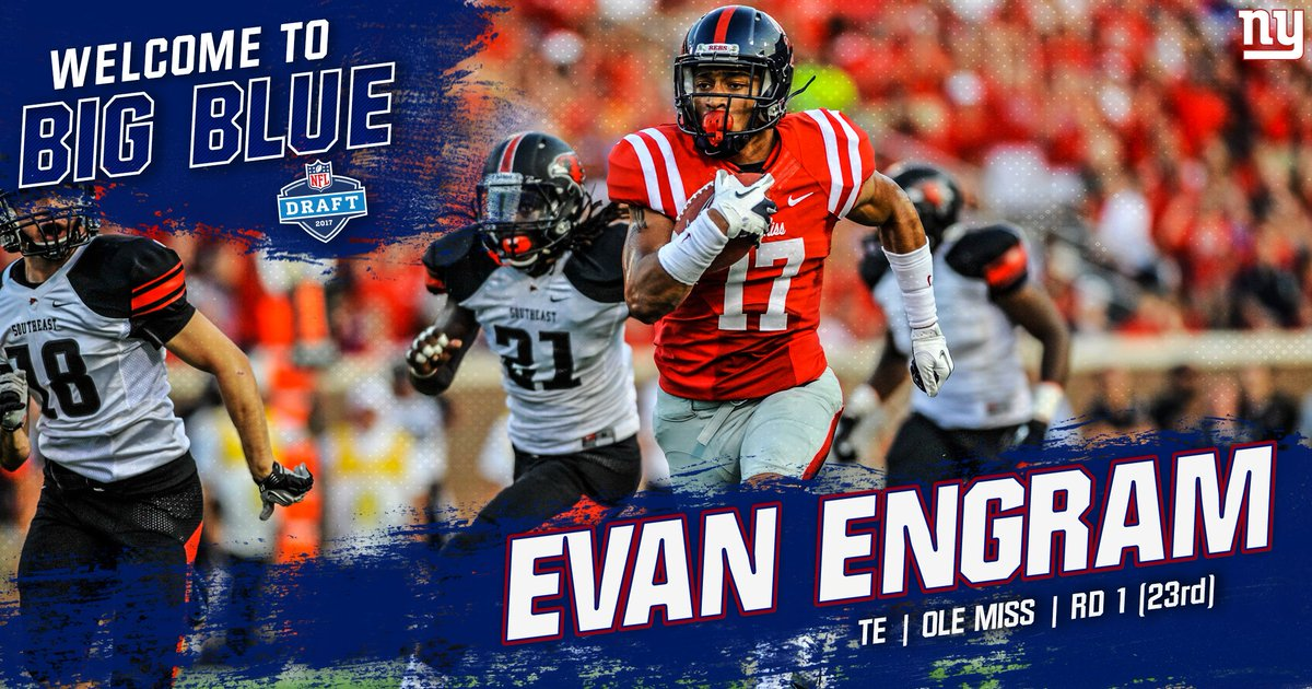 With the 23rd pick, the New York Giants select Ole Miss TE Evan Engram...