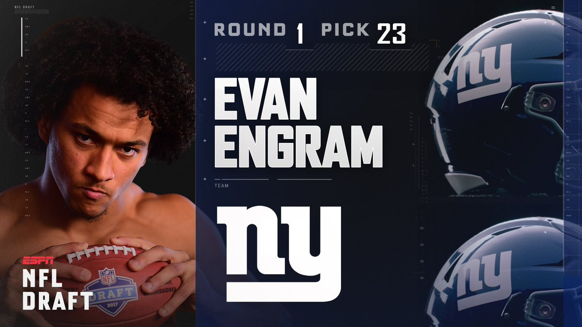 With the 23rd pick in the 2017 NFL Draft, the New York Giants select E...