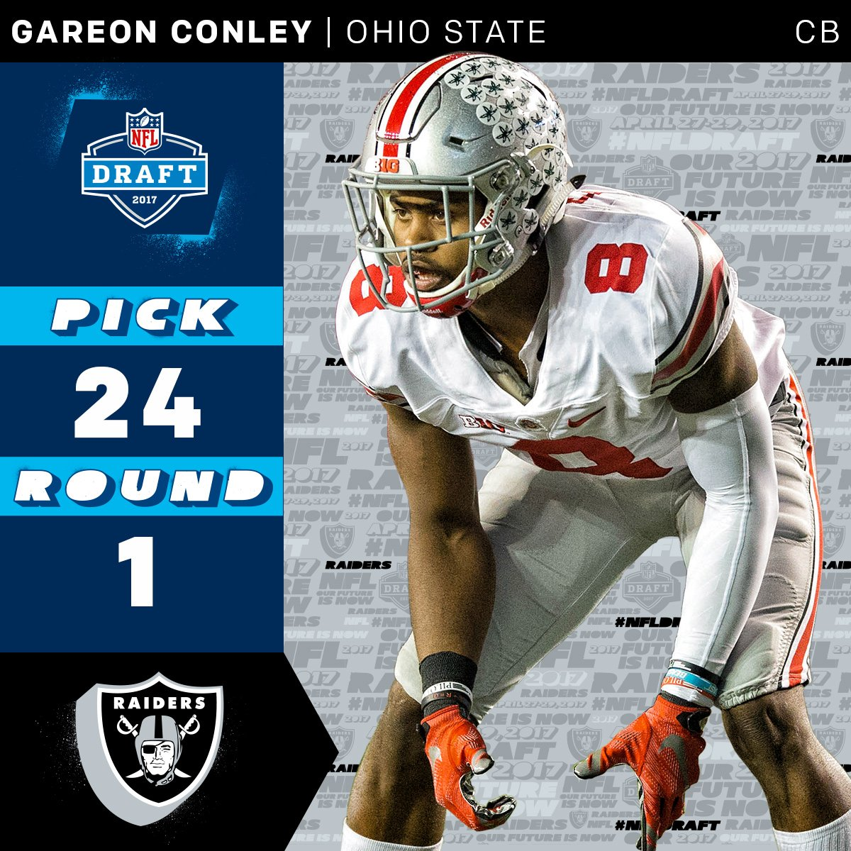 The @RAIDERS select @OhioStateFB CB @_gconley8 with the 24th overall p...