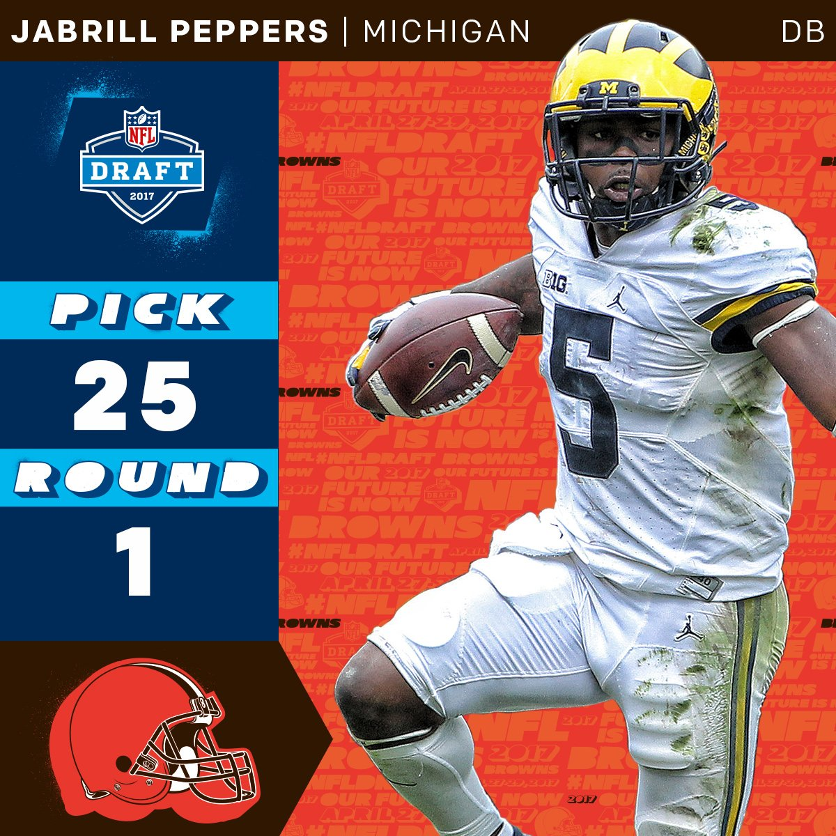 With the 25th overall pick, the @Browns select @UMichFootball DB @Jabr...