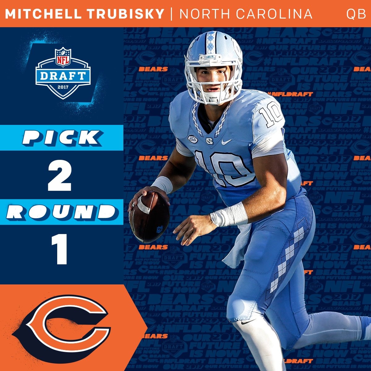 The @ChicagoBears select @Mtrubisky10 with the #2 overall pick! #NFLDr...