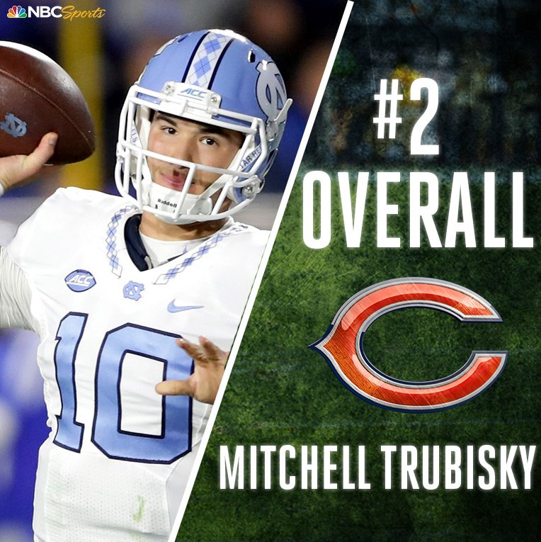 With the #2 pick in the #NFLDraft, the @ChicagoBears select @Mtrubisky...